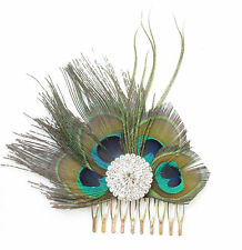 Silver Rhinestone Peacock Feather Fascinator Hair Comb Vintage 1920s Flapper U18