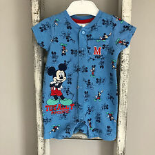 Baby Boy Romper Size 0-3 Months Blue Disney Mickey Mouse Babygrow Summer