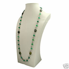 """30"""" Handmade Green Agate Stone Crystal Beads Necklace Womens Jewelry Accessory"""