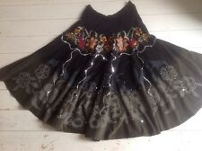 Vintage 1970's Stunning Embroidered Forest Green Fine Cord Gypsy Skirt 14