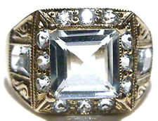 NEW OLD STOCK DEALER 18K WHITE GOLD 2.00CT AQUAMARINE NOUVEAU DECO INSPIRED RING