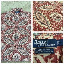 Polo Ralph Lauren Hawaiian Aloha Camp Shirt Red Tan Swordfish Floral Men's L