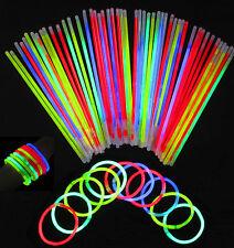 """100 X 8"""" Glow Sticks Para Pulsera, Collar Neón Colores Fiesta Favores Rave Disco"""