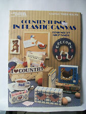 COUNTRY THINGS IN PLASTIC CANVAS PATTERNS LEISURE ARTS #1083 CAT ROOSTER BEAR +