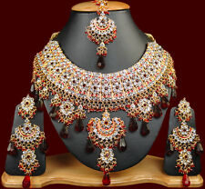 Shop Indian Jodha Akbar Jewelry Online S38 Gold Tone Maroon CZ Necklace Set