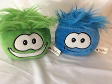 Set Of 2 Disney Puffles Penguin Club 1 Green 1 Blue Stuffed Puffle Crazy Hair