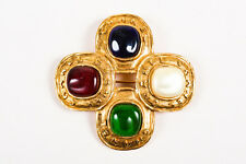 VINTAGE Chanel Gold Tone & Multicolor Gripoix & Faux Pearl Brooch Pin