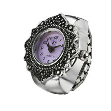 Purple Dial Retro Engraved Floral Bezel Steel Finger Ring Watch Quartz Lady Girl