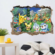 Pokemon Go Wall Sticker Cute Pikachu Decals Decor Kid Living Decorations Summer