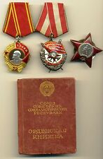 Soviet Order Medal  Lenin Red Banner Red Star with document  (#1948)