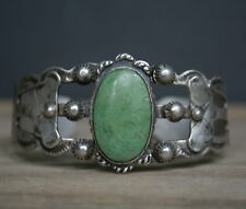 Fred Harvey Era Native American Navajo Sterling Silver Green Turquoise Bracelet