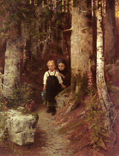 Oil painting little boys in forest landscape See squirrels eating hazelnuts