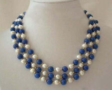3 Rows Real White Pearl lapis lazuli Clasp Necklace
