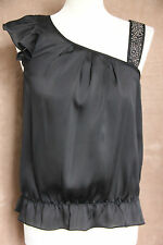 Black Party Asymmetric Top with Black Studs - Size 8 - River Island