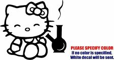 Vinyl Decal Sticker - Hello Kitty Smoking Bong Car Truck Bumper Wall JDM Fun 6""