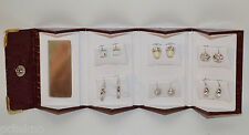 6 STUD EARRING SET Silvertone Rhodium by Carlo Orsini  in Folding travel case