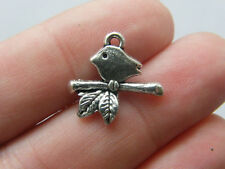 10 Bird on a branch charms antique silver tone B66