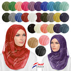 Glitter Sparkle Shimmer Style Hijab Maxi Scarf Plain Colours Viscose Shiney