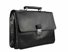 Visconti 18074 Large Mens Black Leather Briefcase Attache Case Business Bag