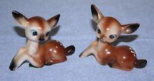 Vintage Set 2 Hard Plastic Spotted Brown Fawn Deer Figurines Hong Kong Big Eye 2