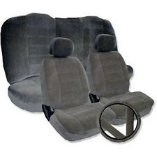 Solid GRAY Velour Low Back Cloth Seat Covers Fabric Steering Wheel Set CS