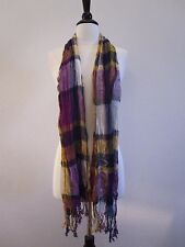 Urban Outfitters Scarf Plaid Fringe New Blue Purple Lightweight