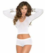 Women Lingerie Set White Cami Bra Top Crop Booty Shorts Panty Sheer Long Sleeves