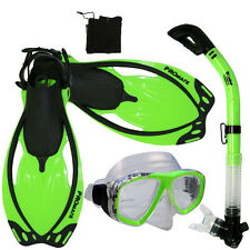Adult Snorkeling Dive Gear Mask Dry Snorkel Fins Mesh Bag Package Sets
