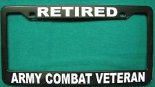License Plate Frame, Polished ABS-RETIRED/ARMY COMBAT VETERAN-#8630W