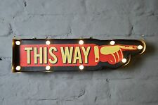 Vintage Style LED Carnival This Way Illuminated Sign