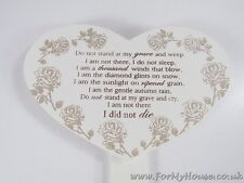 Graveside Memorial Plaque Grave Ornament Heart 'Do not stand at my grave'  -5A