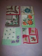 VINTAGE 6 LOT BLUE,PINK, QUILT SIZE OLD STYLE FLOWER FLORAL HANKIE HANDKERCHIEF