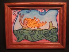 Mermaid Swimming in Waves Sea Original Art Signed: Dale Barsamian Paint & Pencil