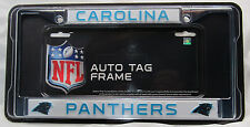 NFL NIB CHROME LICENSE PLATE FRAME-CAROLINA PANTHERS - THIN RAISED BLUE LETTERS