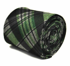 Frederick Thomas navy blue and green check tweed tie FT2142 SKINNY RRP£19.99