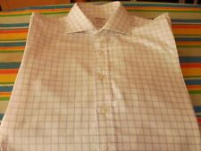 "TM LEWIN BLUE/WHITE CHECKED SHIRT 17""  L/S DOUBLE CUFF"