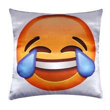 Laughing Tears Emoji Digital Print Silk Satin Cushion Cover Pillow for Sofa Bed