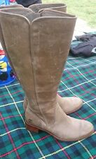 WOMEN'S TIMBERLAND 100% Real Leather MID CALF BOOTS SIZE 4 UK 6.5w biege/brown
