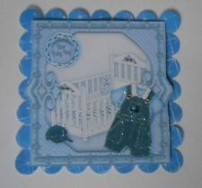 PK 2 BLUE NEW BABY BOY EMBELLISHMENT TOPPERS FOR CARDS AND CRAFTS