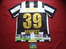 JUVENTUS - ITALY VERY RARE GENUINE 5 SIGNED REMEMBRANCE HEYSEL SHIRT- SMALL- COA