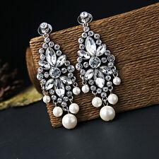Boucles d`Oreilles Clips Argenté Chandelier Perle Vintage Class Mariage  X10