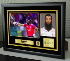 """Moeen Ali England Cricket Framed Canvas Print Signed.""""Great Gift or Souvenir"""" 2"""