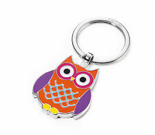 """Troika """"Curly"""" - Chrome Plated Cast Enamel Keyring with Owl Charm"""