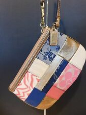 Coach Signature Patchwork Large Wristlet Gold Metallic Leather Zip Pink/Blue F45