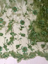 "GREEN /GOLD/EMBROIDERY RHINESTONE MESH LACE FABRIC  50"" WIDE 1 YARD"