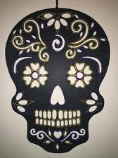 "Hand Painted Sugar Skull Wall Hanging(Gold & purple glitter)16.5"" Tall x 12""Wide"