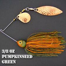 Bassdozer Spinnerbaits. 3/8 oz Style F. PUMPKINSEED GREEN spinner bait bass lure