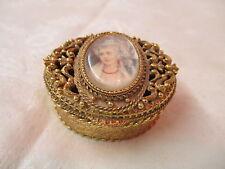 Vintage Florenza Pill Box elaborate gold tone filigree repro Cameo portrait