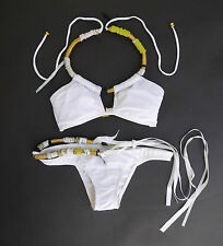 ROSA CHA BRAZILIAN WHITE BIKINI WITH EMBELLISHMENT SIZE S