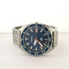 Fossil Men's FS5048 Blue Dial SS Link Band Watch For Parts Not Working